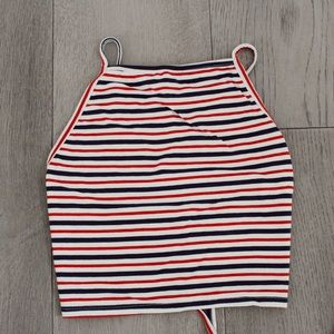 Garage striped crop top